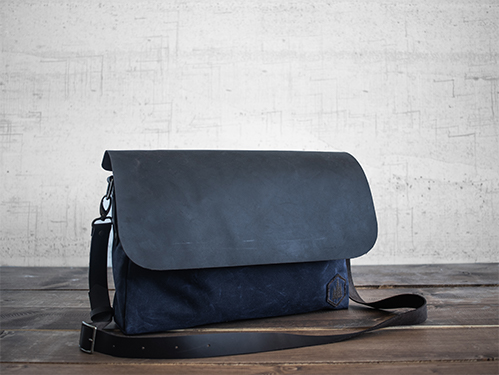 Uphill Designs - Appalachian select messenger bag - navy - front tilted