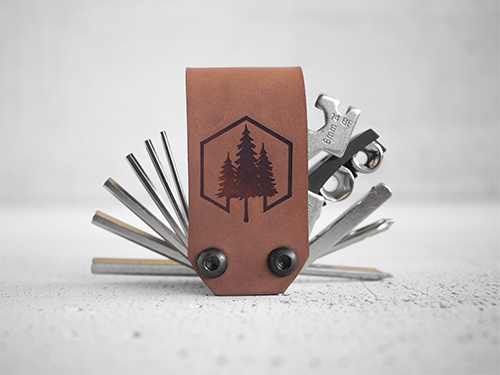 Uphill Designs - Acadia leather wrapped bicycle multitool - light brown open