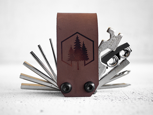 Uphill Designs - Acadia leather wrapped bicycle multitool - medium brown open