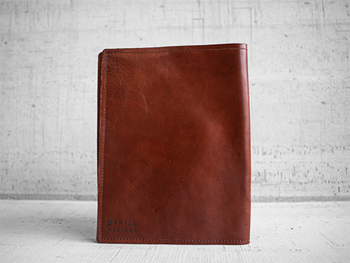 Uphill Designs - Mosaic leather portfolio - english tan - angled back