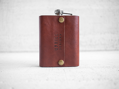 Uphill Designs - Bailey flask - English tan - small back