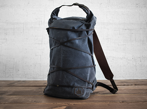 Uphill Designs - waxed canvas Divide rucksack - charcoal - front - tilted