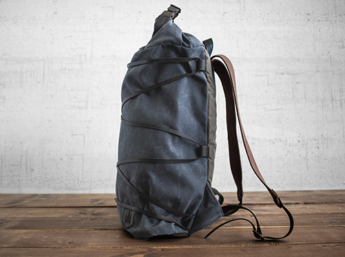 Uphill Designs - waxed canvas Divide rucksack - charcoal - side