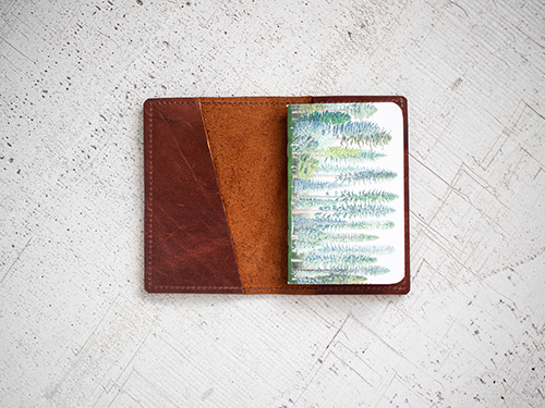 Uphill Designs - Mesa passport and field notes holder - english tan - open with insert