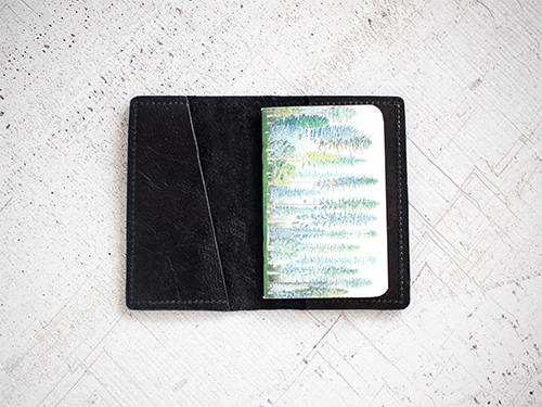 Uphill Designs - Mesa passport and field notes holder - sienna brown - open with insert