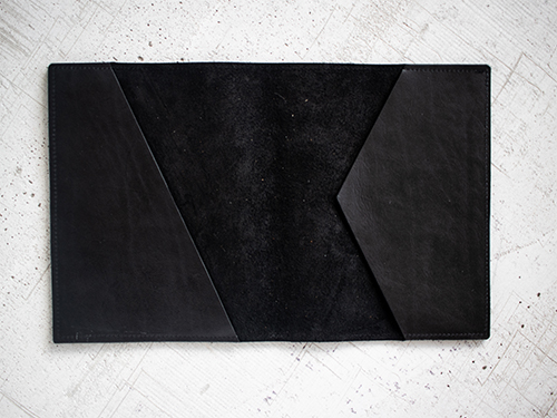 Uphill Designs - Mosaic leather portfolio - onyx black - angled back
