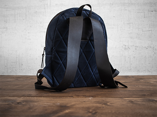 Uphill Designs - small Crest waxed canvas backpack - navy blue- back