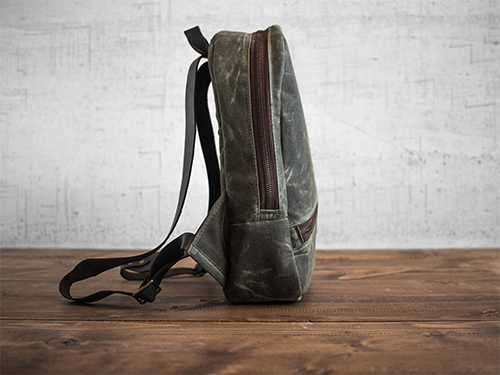 Uphill Designs - small Crest waxed canvas backpack - navy blue - side