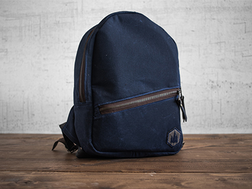 Uphill Designs - small Crest waxed canvas backpack - navy blue - front