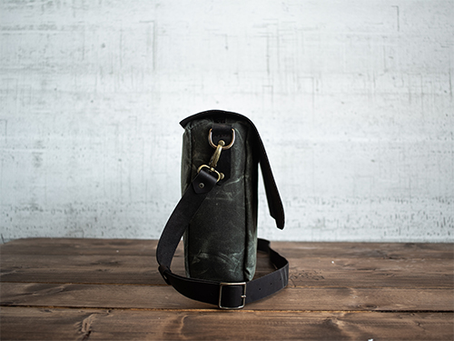 Uphill Designs - waxed canvas and leather appalachian messenger bag - olive - front
