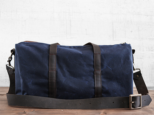 Uphill Designs - Cobalt waxed canvas duffel back - navy blue - back