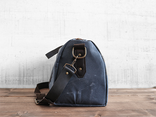 Uphill Designs - Cobalt waxed canvas duffel back - navy blue - front