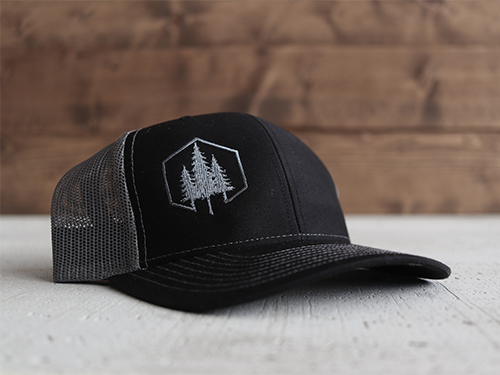 Uphill Designs - embroidered trucker hat dark gray - both designs
