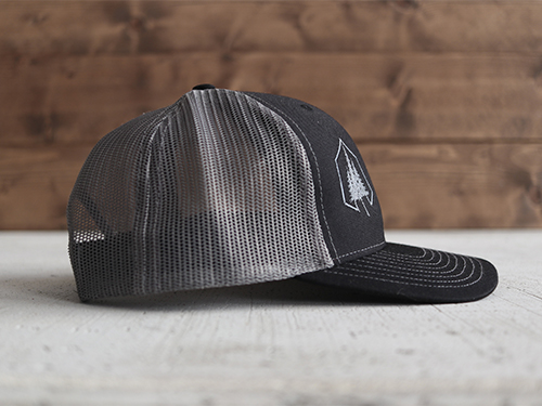 Uphill Designs - embroidered trucker hat dark gray - three trees design