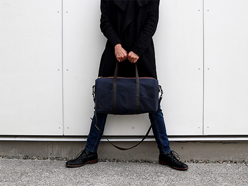 Uphill Designs - Cobalt waxed canvas duffel back - navy blue - worn