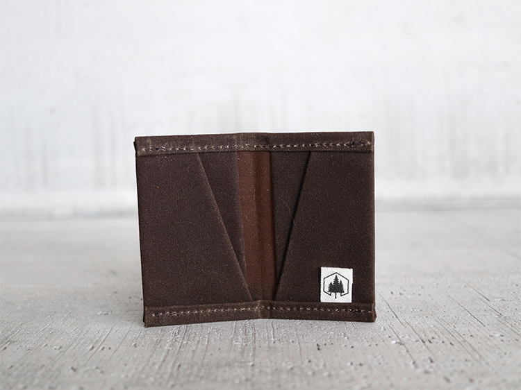 Uphill Designs - waxed canvas mono wallet - earth - open