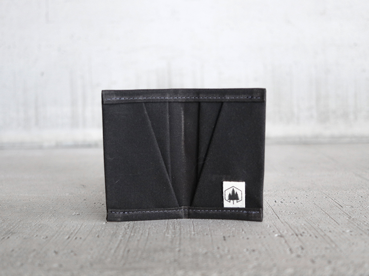 Uphill Designs - waxed canvas mono wallet - oak - open