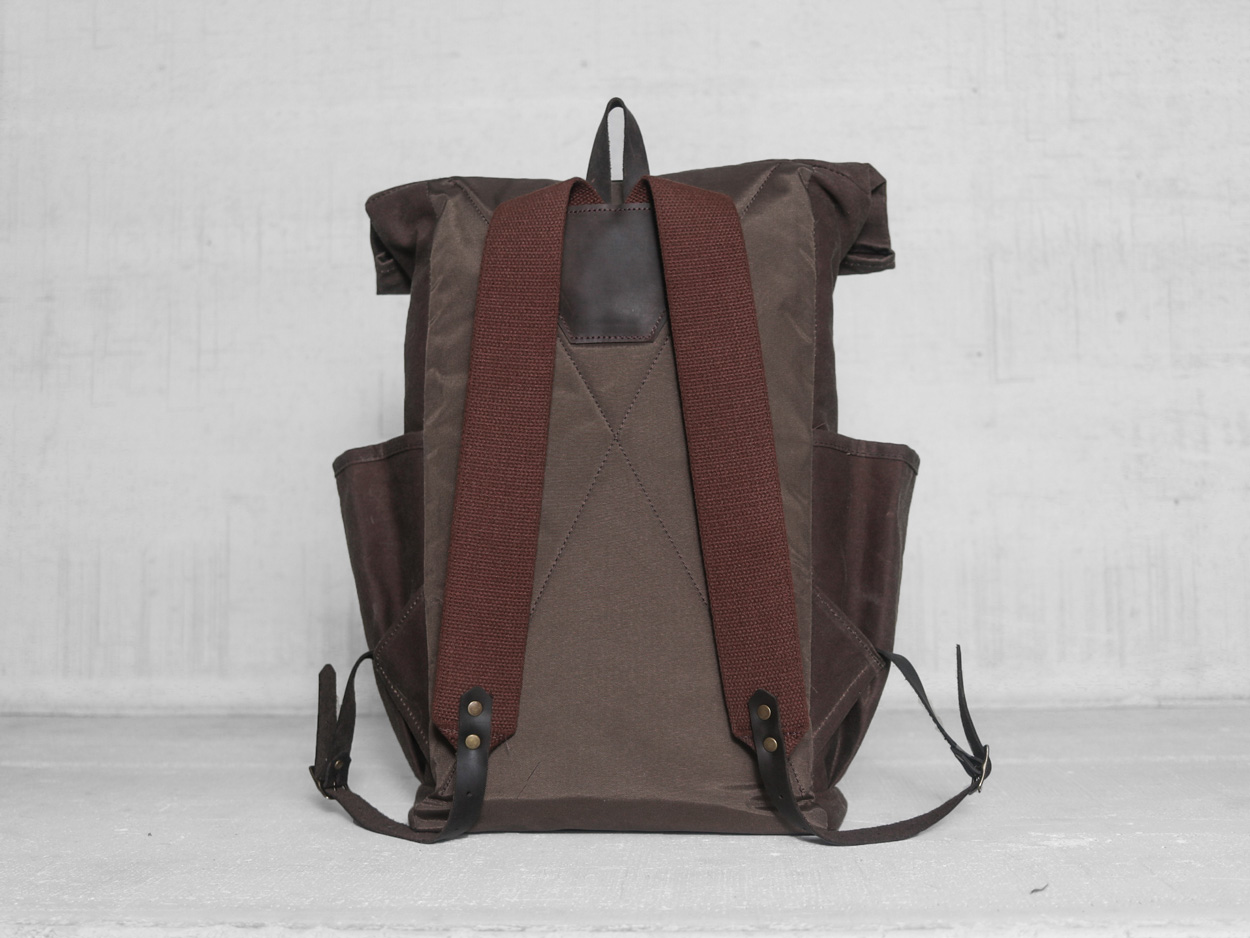 Uphill Designs - small Crest waxed canvas backpack - olive green - worn