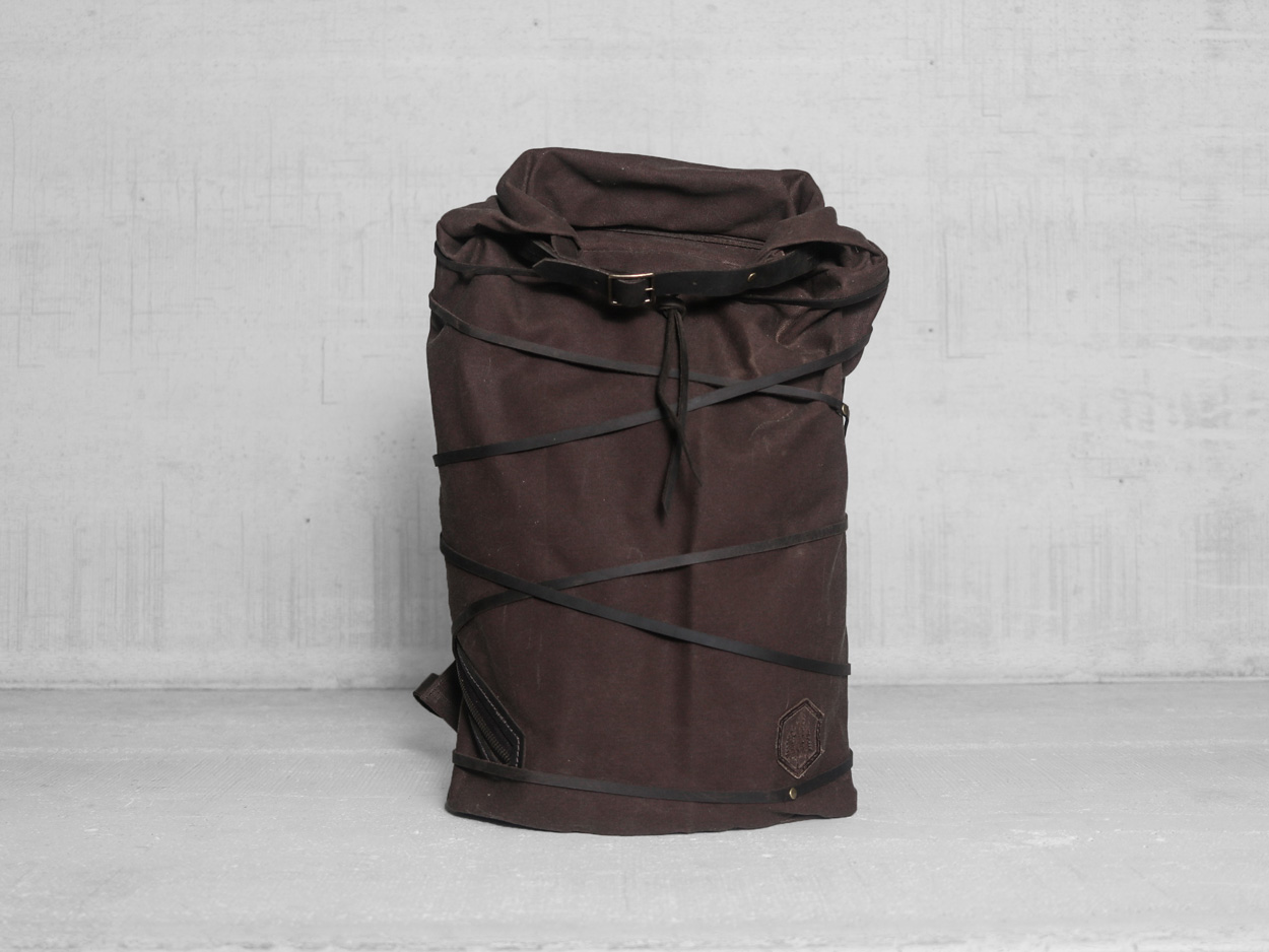 Uphill Designs - waxed canvas Divide rucksack - carob - front