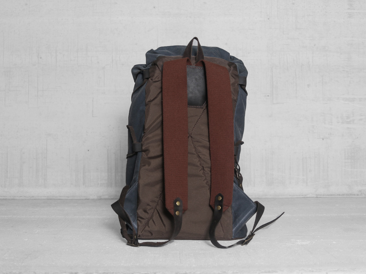 Uphill Designs - waxed canvas Divide rucksack - charcoal - back