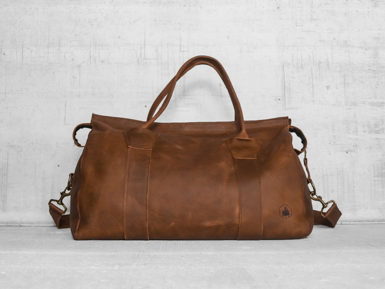 Uphill Designs - Carter leather travel duffel - caramel kodiak - front