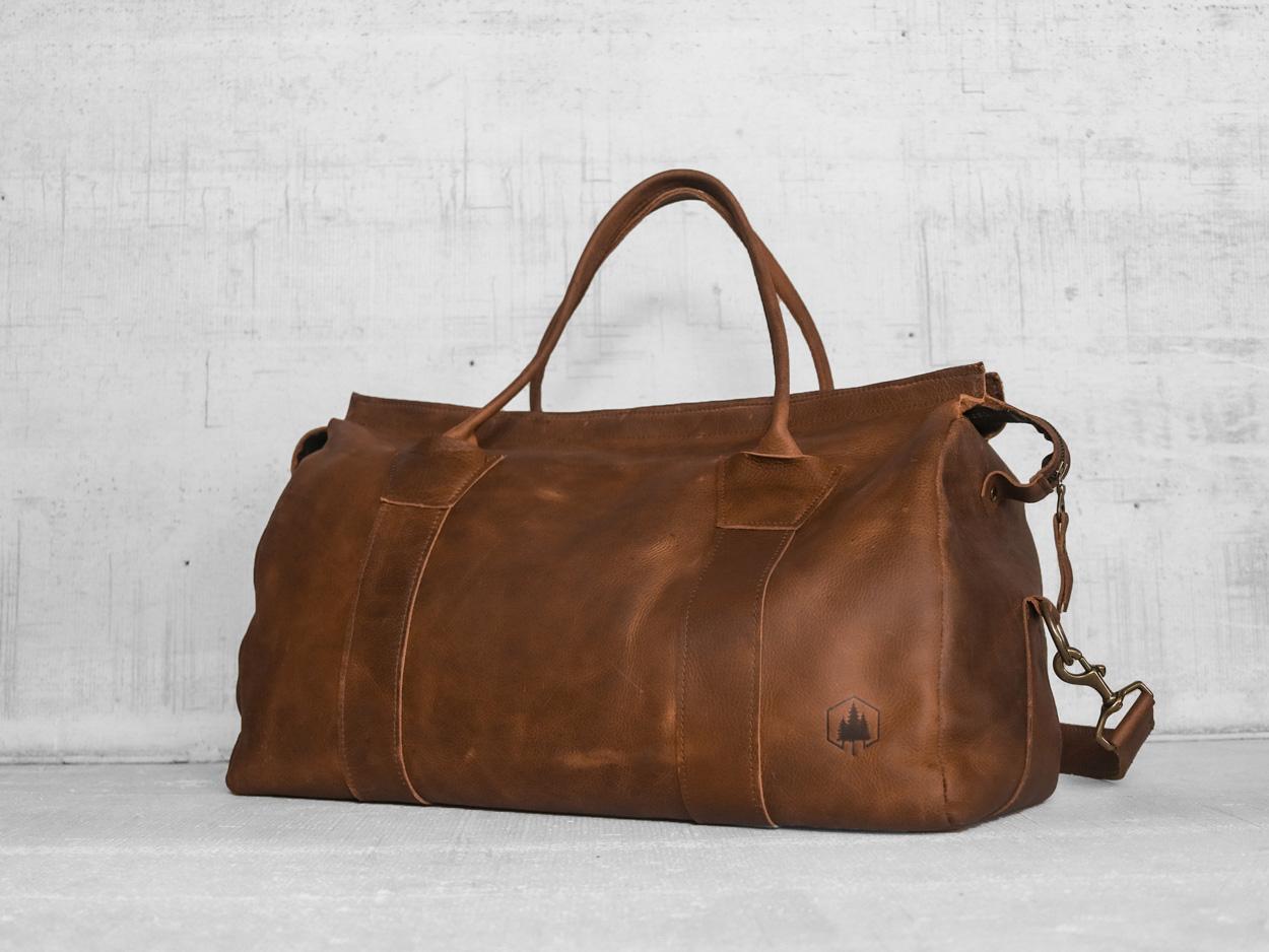 Uphill Designs - Carter leather travel duffel - caramel kodiak - angled
