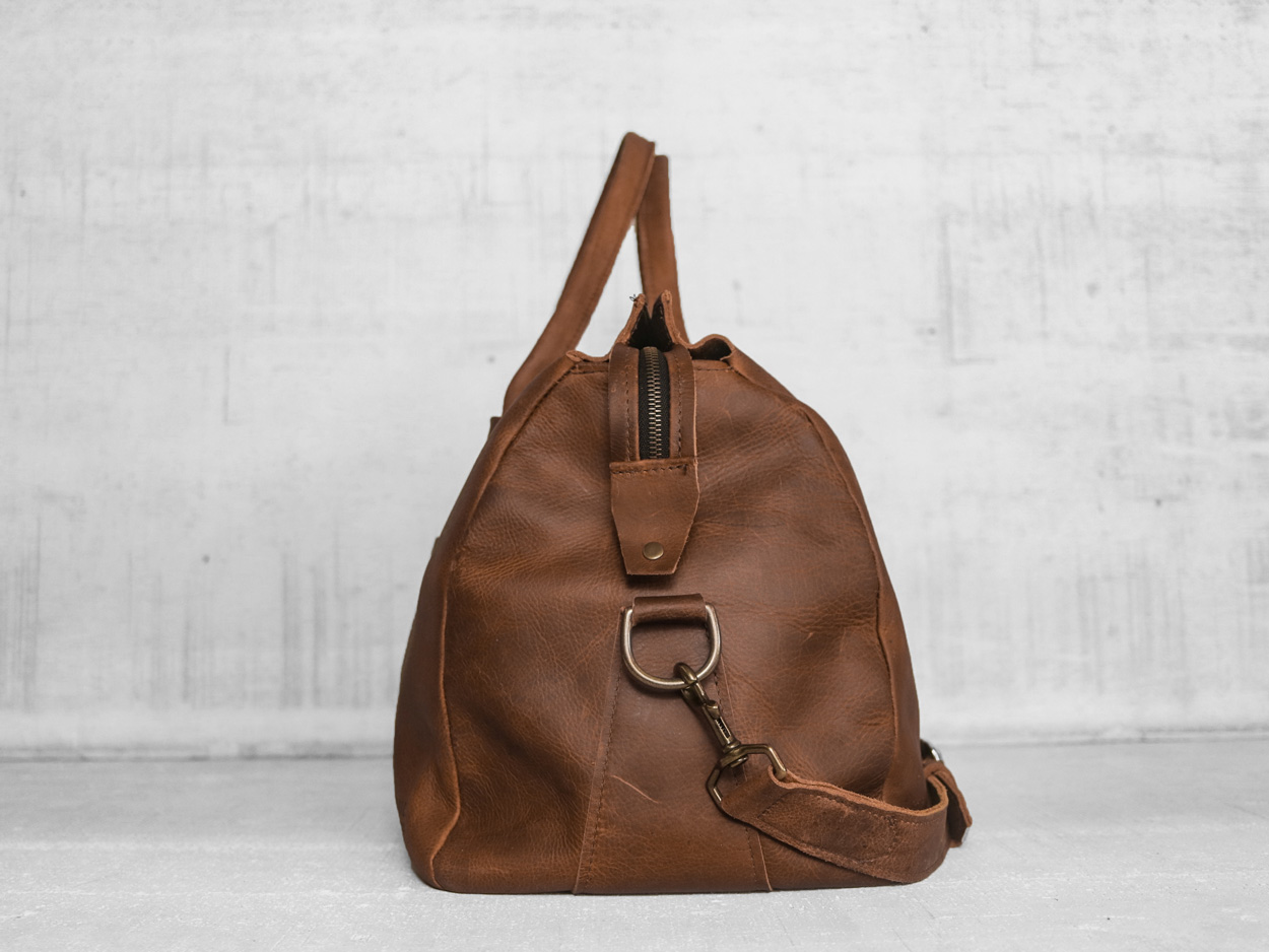 Uphill Designs - Carter leather travel duffel - caramel kodiak - side