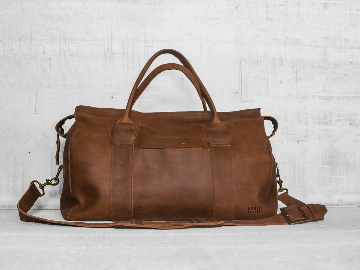 Uphill Designs - Carter leather travel duffel - caramel kodiak - angled
