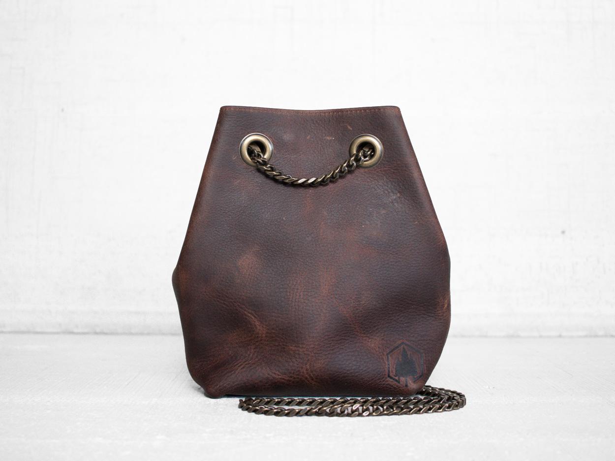 Uphill Designs - Covey leather bucket bag - bordeaux kodiak - front