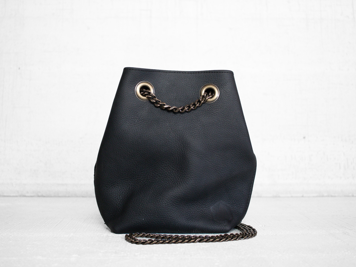 Uphill Designs - Covey leather bucket bag - sable kodiak - front