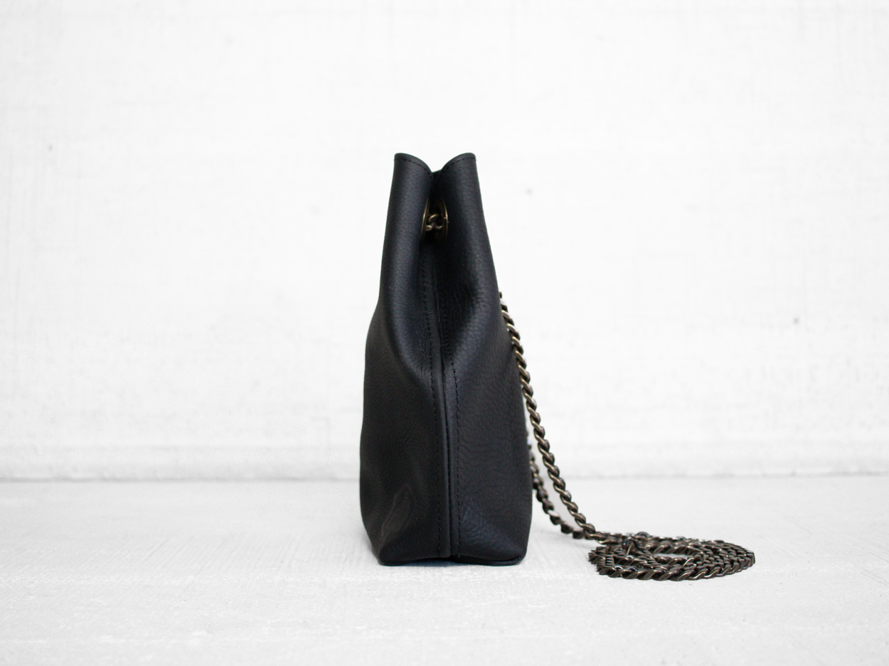 Uphill Designs - Covey leather bucket bag - sable kodiak - side