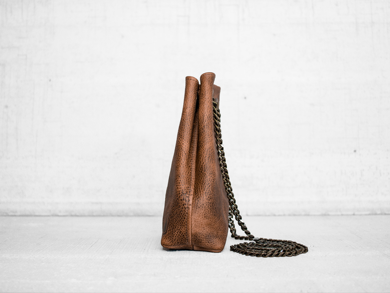 Uphill Designs - Covey leather bucket bag - caramel kodiak - side