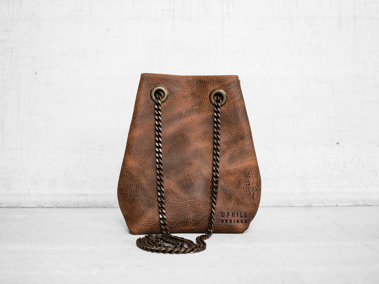 Uphill Designs - Covey leather bucket bag - caramel kodiak - back