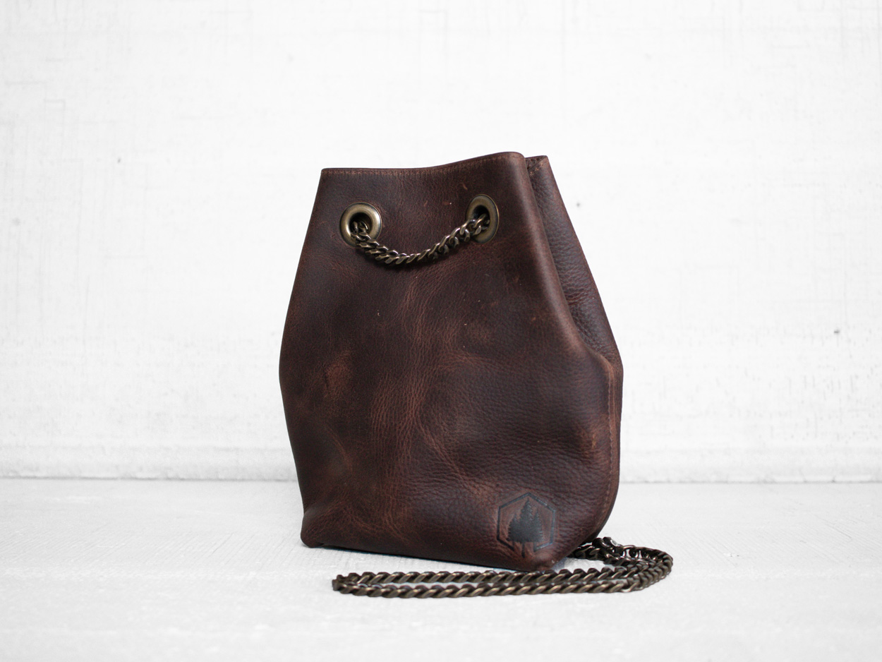 Uphill Designs - Covey leather bucket bag - bordeaux kodiak - angled