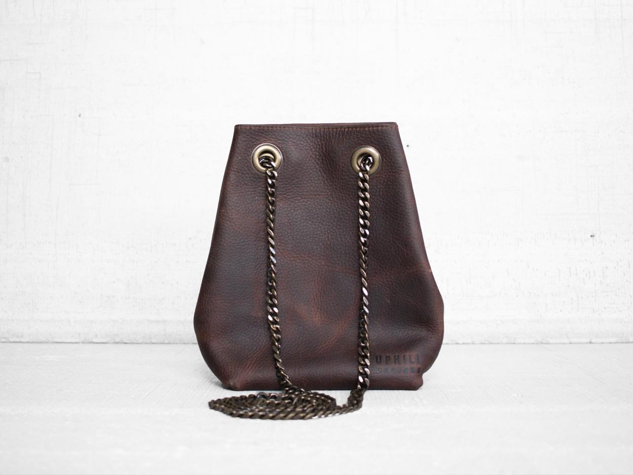 Uphill Designs - Covey leather bucket bag - bordeaux kodiak - back