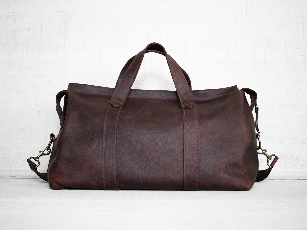 Uphill Designs - Carter leather travel duffel - bordeaux kodiak - front