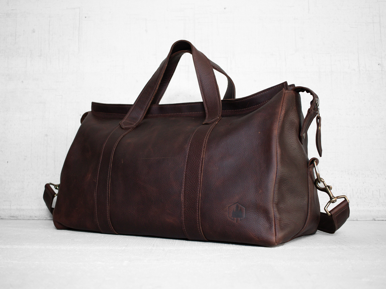 Uphill Designs - Carter leather travel duffel - bordeaux kodiak - angled