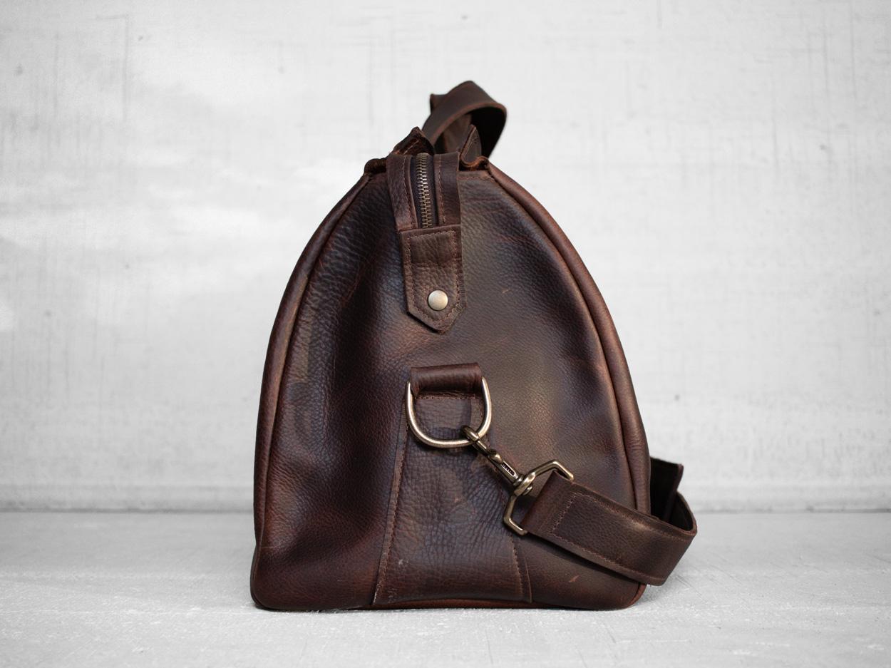 Uphill Designs - Carter leather travel duffel - caramel kodiak - side