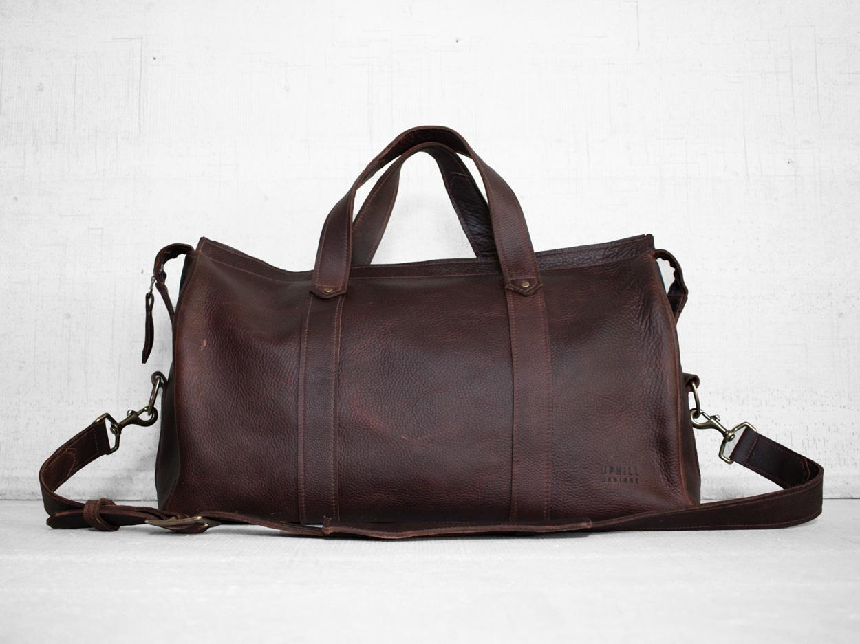 Uphill Designs - Carter leather travel duffel - bordeaux kodiak - back