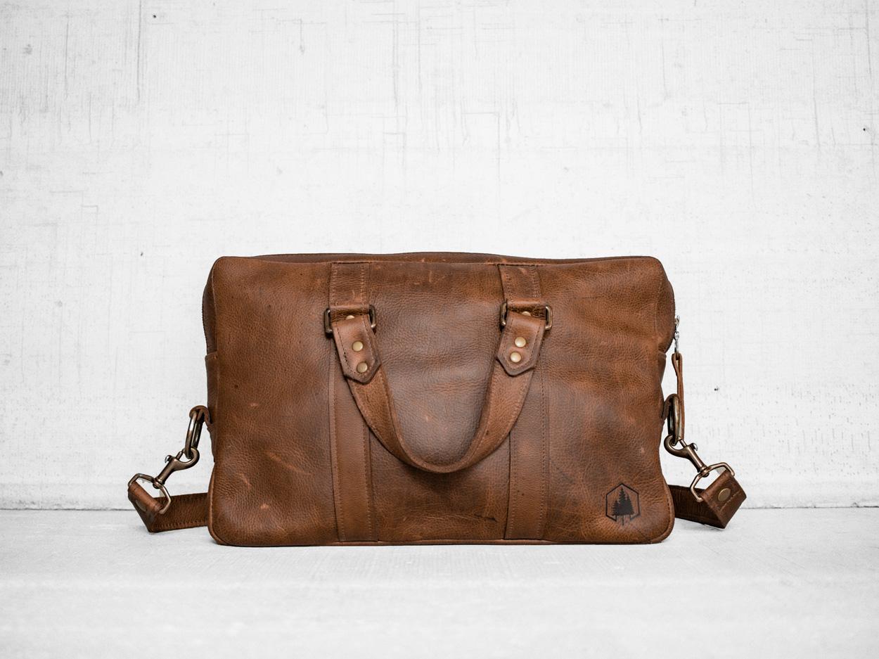 Uphill Designs - Appalachian leather messenger bag - caramel - front