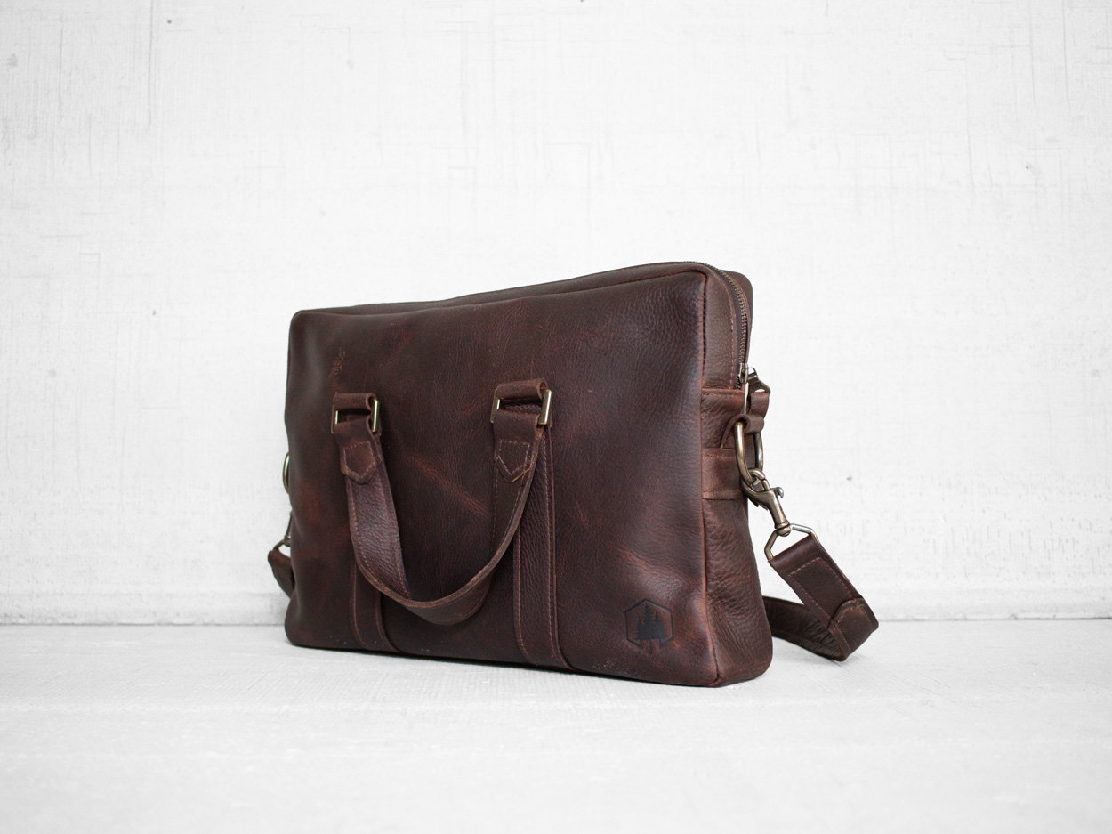 Uphill Designs - Appalachian leather messenger bag - bordeaux - angled