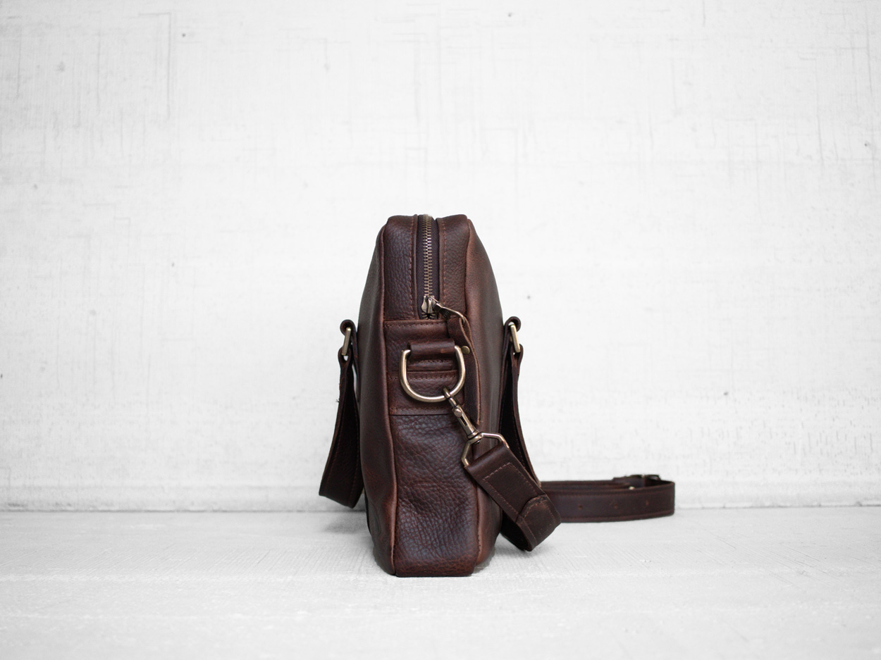 Uphill Designs - Appalachian leather messenger bag - bordeaux - side