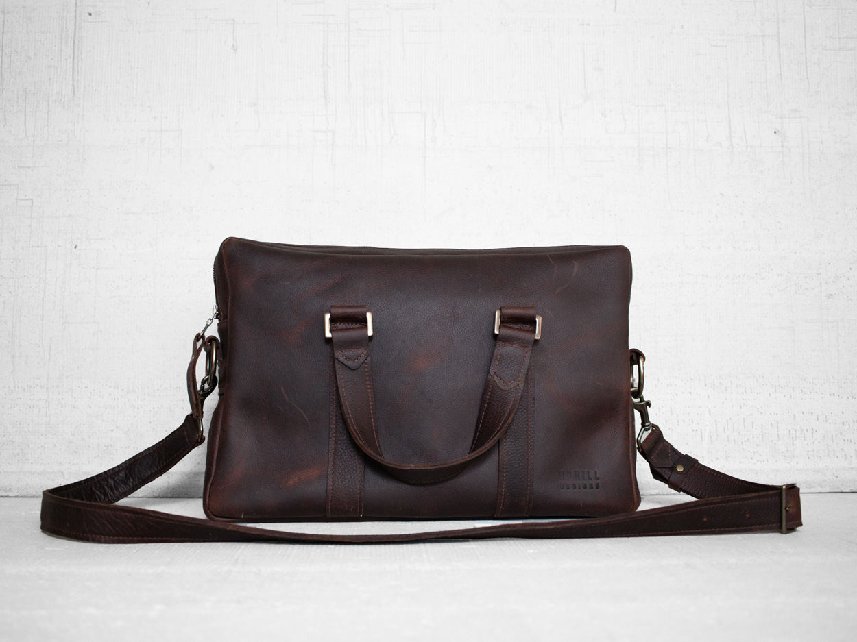 Uphill Designs - Appalachian leather messenger bag - bordeaux - back