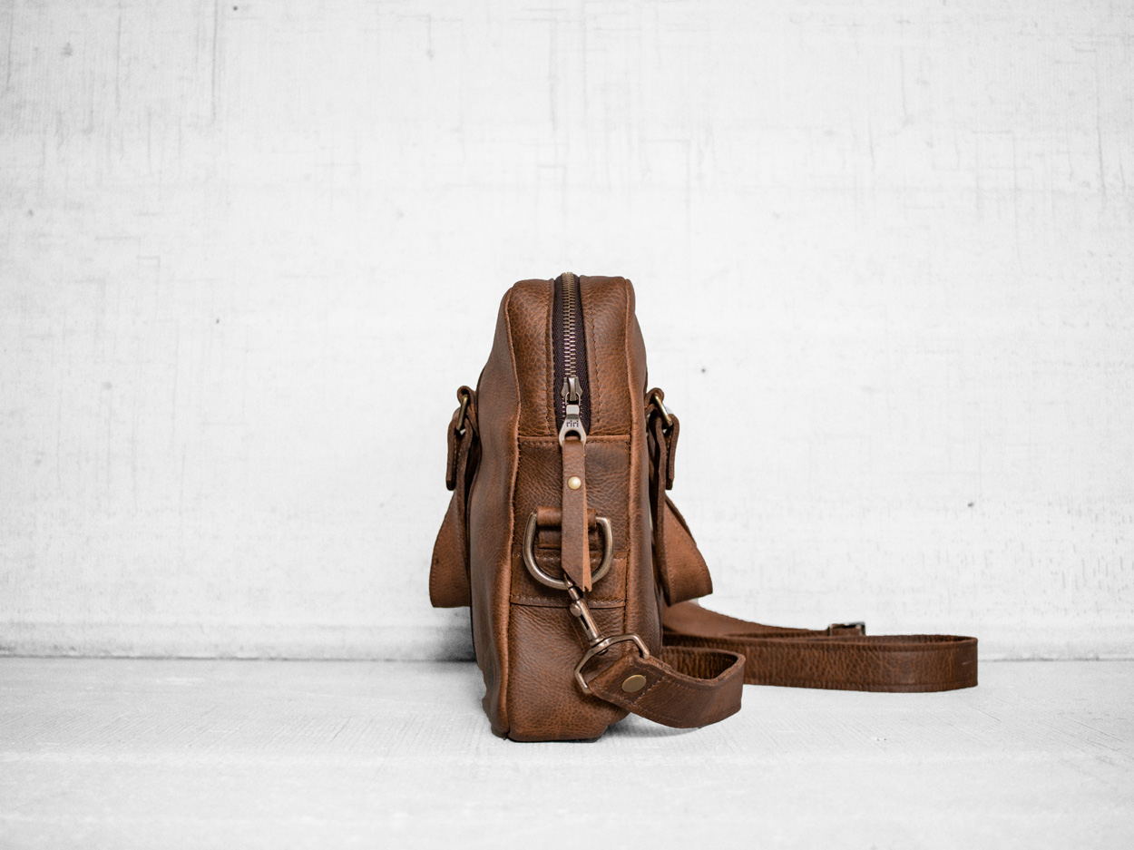 Uphill Designs - Appalachian leather messenger bag - caramel - side