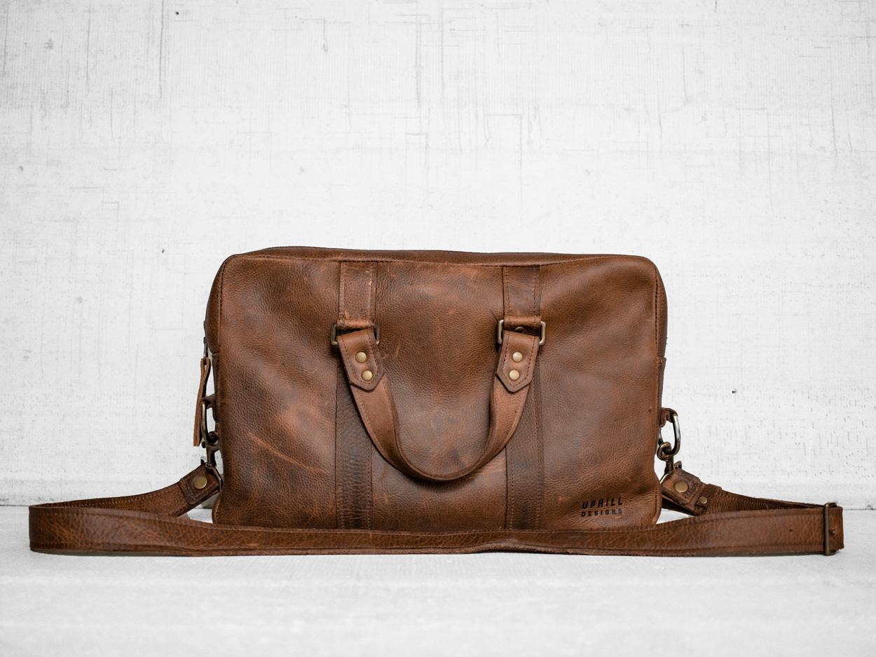 Uphill Designs - Appalachian leather messenger bag - caramel - angled