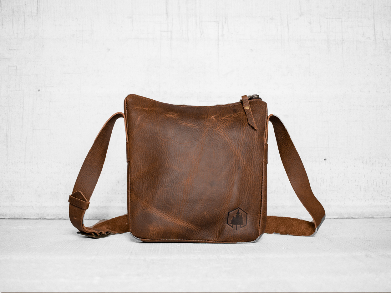 Uphill Designs - Logan leather satchel - caramel - front