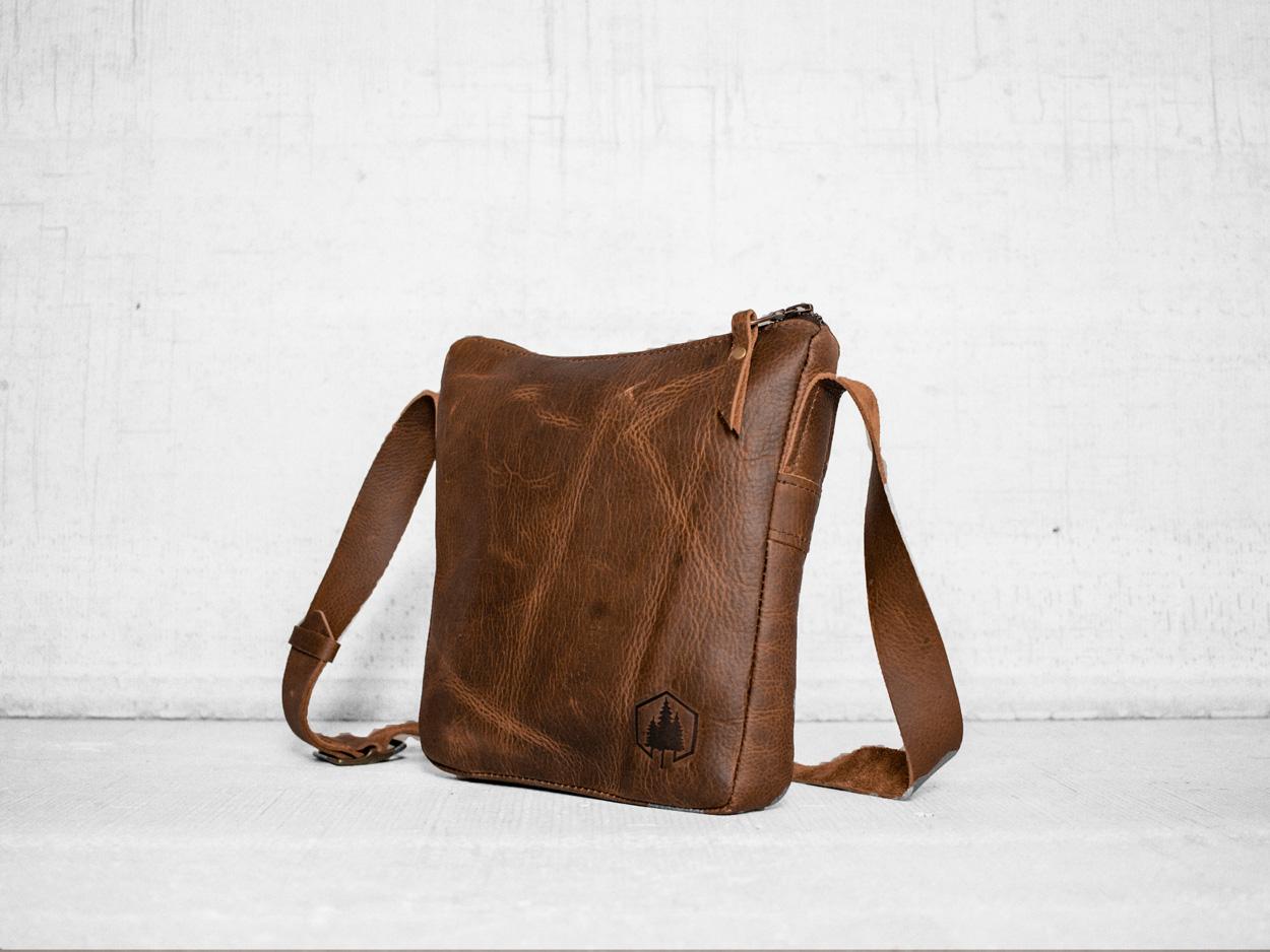 Uphill Designs - Logan leather satchel - caramel - side