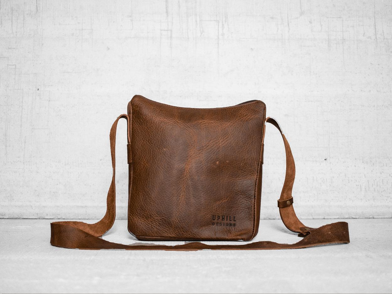 Uphill Designs - Logan leather satchel - caramel - back
