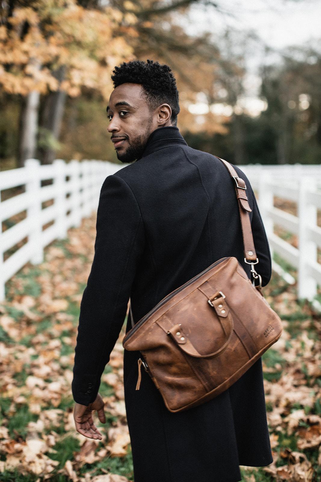 Uphill Designs - Appalachian leather messenger bag - caramel - in hands