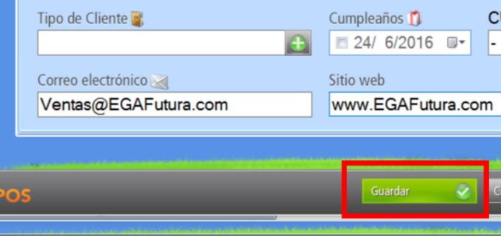 """Presionando el bot贸n """"Guardar"""" los datos quedan grabados en la base de datos de clientes"""